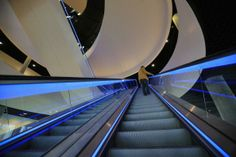 interior view of the new Library of Birmingham at Centenary Square -escalator with led light-