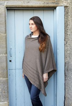 Earth Squared knitted cotton wrap poncho in brown