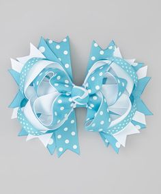 Another great find on #zulily! Aqua Double Polka Dot Princess Bow Hair Clip #zulilyfinds