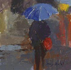 https://flic.kr/p/zS8qJr | CCC Paraguas azul con bolso rojo_acrílico sobre tela 19X19 cm.