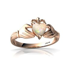 Genuine Opal (Rose Gold) Celtic Claddagh Ring (Style #: R2370)
