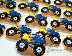 Ideas For Monster Truck Cupcakes Decoration 2 Birthday, Hot Wheels Birthday, 3rd Birthday Cakes, Birthday Cookies, August Birthday, Birthday Ideas, Festa Monster Truck, Monster Truck Cupcakes, Monster Trucks