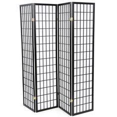 Black 4-Panel Asian Style Shoji Room Divider Screen