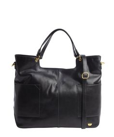 BLACK LEATHER SHOPPER TOTE