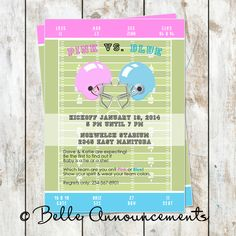 Items similar to Gender Reveal Football Invitation - Football Baby Shower Invitation - Tailgate Party Invitation - Gender Reveal Baby Shower on Etsy Football Baby Shower Invitations, Gender Reveal Invitations, Party Invitations, Baby Shower Gender Reveal, Reveal Parties, Baby Gifts, How To Find Out, Fun, Alabama
