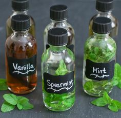 DIY Extracts:  Vanilla Extract 3-4 vanilla beans (split beans in half, lengthwise, so that the inside content is completely exposed) 8 oz vodka Mint Extract 1 cup mint (stems removed) 12 oz vodka