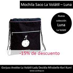 """La Mochila Saco de la nueva colección """"Luna"""" de La Volátil, es ideal para llevar tus cosas de la manera más cómoda y ligera, ya que tiene un amplio compartimento central, un bolsillo en la parte frontal con cremallera y tirantes al hombro para llevarla cómodamente a la espalda.  @sueshop_es #lavolatil #mochila #saco #nuevacoleccion #rebajas #ofertas #descuento"""