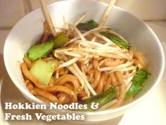 A quick and easy vegetarian recipe with hokkien noodles and fresh vegetables.