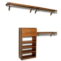 John Louis Home Collection Honey Maple Deluxe Closet System | Overstock.com  Shopping   The Best Deals On Closet Storage | Giá Treo Quần áo | Pinterest  | ...