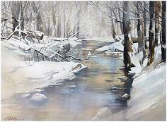 "Thomas W Schaller ""dreaming of winter"" thomas w schaller watercolor 22x30 inches"