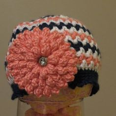 Spring/Summer crochet toddler hat in navy, peach and white chevron stripe, with removable peach flower. on Etsy, $13.00