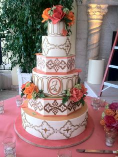 Macedonian-inspired wedding cake with intricate handcrafted royal icing design from Christopher Garren's Let Them Eat Cake in Costa Mesa, California....