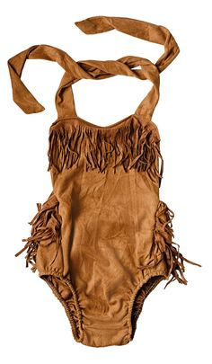 You can NEVER have enough FRINGE!!! This darling suede boho chic bubble halter romper is truly to-die-for adorable!  A complete must have for your little bohemi