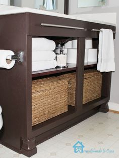 """Builder's Grade Vanity Revamp!  ~~~  Love the towel rack on the front and adding the """"feet"""""""