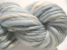 handspun yarn Softer Blue thick and thin bulky singles 70 yds, merino wool top