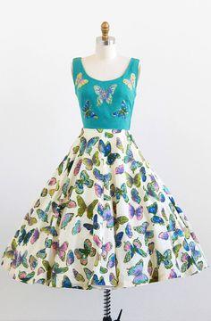 vintage 1950s teal + rainbow butterflies dress | http://www.rococovintage.com