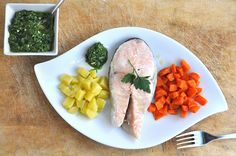 Salmone e Patate in Salsa Verde col Varoma del Bimby