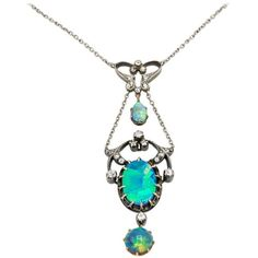 Preowned Three Opal And Diamond Edwardian Gold And Silver Pendant... ($7,885) ❤ liked on Polyvore featuring jewelry, necklaces, chain necklaces, multiple, diamond pendant necklace, teardrop pendant necklace, chain pendant necklace and diamond pendant