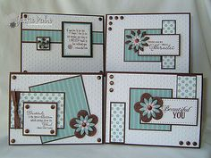 "four cards with patterned papers using the ""one sheet wonder""  tecnique with one 6X6 sheet of patterned paper ... looks like she used two ... luv the cards  ..."