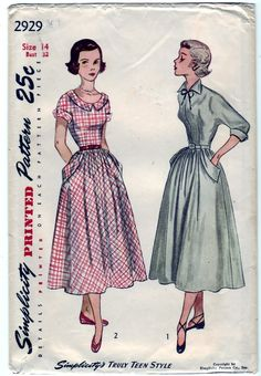 FREE SHIPPING Vintage 1949 Simplicity 2929 Sewing Pattern Teen-Age One-Piece Dress Size 14 Bust 32