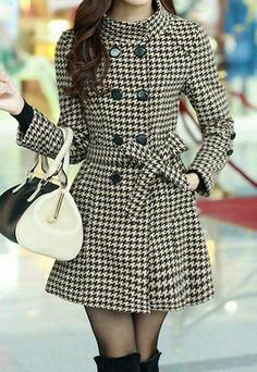 Elegant Double Breast Stand Color Sash Plaid Tweed Coat