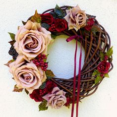 Věnec s kávovými a vínovými růžičkami Summer Wreath, Grapevine Wreath, Grape Vines, Floral Wreath, Wreaths, Decor, Floral Crown, Decoration, Door Wreaths