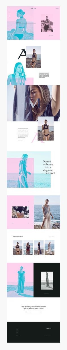 (53) Oui Will™️ | Amaio Swim | Web Design | Pinterest / This photo treatment with complementary colors is awesome. / Web / Design / Ideas / Inspiration / Photography / Art Direction / Layout / Magenta / Cyan / Swimwear / Bathing Suit / Modern / Colorful / Ocean / Beach / Bikini