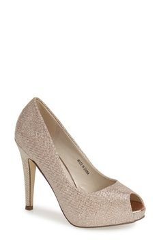 pink paradox London 'Yummy' Glitter Peep Toe Pump (Women) available at #Nordstrom