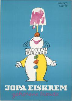 Herbert Leupin, poster artwork for Jopa ice cream, Frozen joy, 1968.Karl Schoeller, Nuremberg, Germany. Via plakatkontor