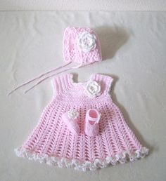 Crochet Baby Dress. Bonnet.And Shoes. $60.00, via Etsy.