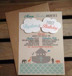 Noah's Ark Themed Invitation Clouds CUSTOM by kandvcrafts on Etsy