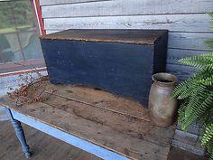 CI 1850 Primitive Small Blanket Chest Original Blue Paint Square Nails | eBay