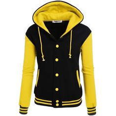 Zeagoo Women's High Quality Bomber Baseball Jacket Hoodie Sweatshirt... ($27) ❤ liked on Polyvore featuring tops, hoodies, sweatshirts, hooded pullover, sweatshirt hoodies, yellow sweatshirt, yellow hoodies and hooded pullover sweatshirt