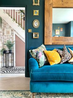 Bright and bold is the theme our customer Lisa has chosen when selecting the Alwinton sofa, and we think it looks remarkable! Visit your nearest showroom to design your perfect sofa with 15% off everything today or shop our British handmade styles online. Hurry, selected models still available for Christmas delivery. #sofasandstuff #interior #interiors #interiordesign #interiordesigns #sofa #sofas #britishsofa #handmadesofa #bespokesofa #bluesofa #bluevelvetsofa #velvetsofa #bluedecor Bohemian Living Rooms, Living Spaces, Bespoke Sofas, Sofa Uk, Victorian Sofa, Blue Velvet Sofa, Traditional Sofa, Sofa Sale, Fabric Sofa