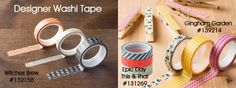 ONE DAY ONLY! Thursday, October 3, 2013. Stampin' Up is celebrating 250 blog posts by giving everyone a discounted item on Thank you Thursday's. Today's Deal-Designer Washi Tape! Choose from one (or all three) of the designer Washi Tapes - This and That Epic Day, Gingham Garden, and Witches Brew. Each one normally sells for $4.95 but you can get it TODAY ONLY for $3.71 (discounted price shows up at checkout). Stop by my shop today and get your hands on some quick before they run out of product!