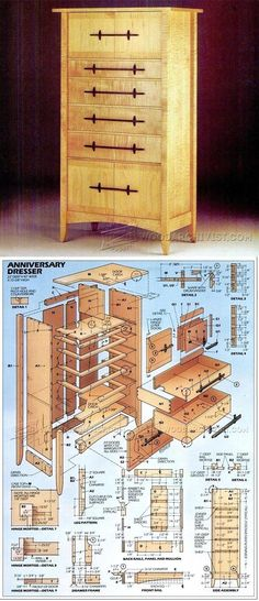 Curly Maple Dresser Plans - Furniture Plans and Projects - Woodwork, Woodworking, Woodworking Plans, Woodworking Projects Wood Projects For Beginners, Beginner Woodworking Projects, Woodworking Joints, Popular Woodworking, Woodworking Furniture, Furniture Plans, Wood Furniture, Woodworking Plans, Building Furniture