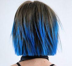 short choppy haircut with blue balayage