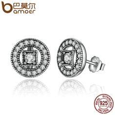 3e78b823b BAMOER Authentic Real 925 Sterling Silver Vintage Allure, Clear CZ Stud Earrings  Women Wedding Jewelry Femme Brincos PAS485-in Stud Earrings from Jewelry ...