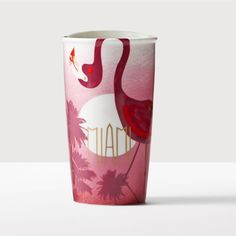Miami Double Wall Traveler. A double-walled ceramic mug that pays tribute to Miami with its iconic flamingo and pink sunset design.