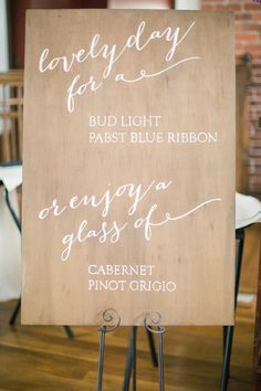 calligraphy for wedding beverage sign photo by Watson Studios, Design by Jennifer Laraia Designs Diy Wedding, Rustic Wedding, Wedding Gifts, Wedding Ideas, Wedding Photos, Wine Signs, Bar Signs, Chalkboard Wedding, Wedding Signage