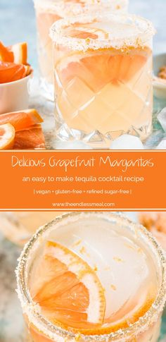 This delicious Grapefruit Margarita recipe is similar to a Paloma only it s made without soda so it s not watered down Mexico s favorite tequila cocktail just got even better vegan gluten-free refined sugar-free Grapefruit Margarita Recipe, Margarita Recipes, Cocktail Recipes, Margarita Tequila, Grapefruit Juice, Pineapple Juice, Pina Colada Cocktail, Yummy Drinks, Yummy Food
