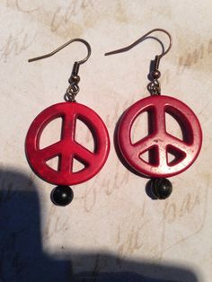 Peace earrings by CronesNestArt on Etsy $12.00