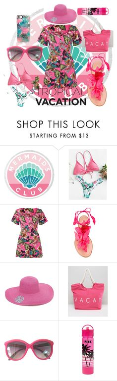 """""""tropical vacation"""" by bwilliamson102976 ❤ liked on Polyvore featuring Aquazzura, South Beach, Victoria's Secret PINK and Casetify"""