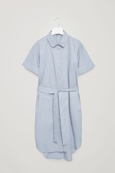 COS image 6 of Belted shirt dress in Dusty Blue