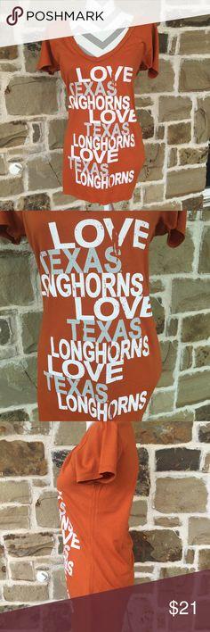 "Texas Longhorns T-Shirt ""Hook 'em Horns""!  EUC!  No flaws.  Long so it covers the bum! 😻.  V neck.  100% cotton Tops Tees - Short Sleeve"