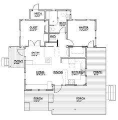 Modern Style House Plan - 2 Beds 1 Baths 800 Sq/Ft Plan #890-1 Main Floor Plan - Houseplans.com