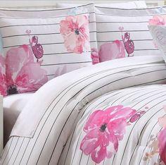 pink floral bedding