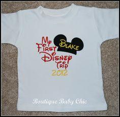 First Disney Trip Tee Shirt with Monogram Mickey Ears by bbcnola, $20.00