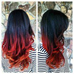 Black, red, orange ombre