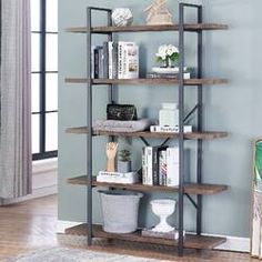 O&K Furniture Industrial Style Bookshelf, Wood and Metal Bookcases Furniture, H Gray- Brown Metal Bookcase, Open Bookcase, Cube Bookcase, Etagere Bookcase, Bookshelves, Display Shelves, Storage Shelves, Shelving, Vintage Industrial Furniture